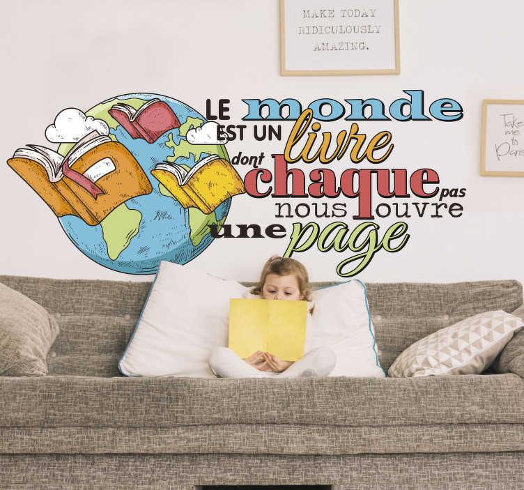 TenStickers. Sticker Mural bibliothèque journée des livres. Avez-vous déjà voulu rester inspiré par les livres qui vous entourent? Achetez ce magnifique sticker de haute qualité maintenant!