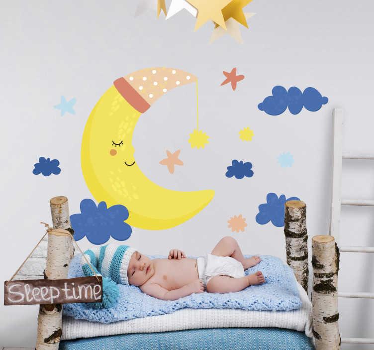 TenStickers. Lună și stele ilustrare artă de perete. Decora și trimite copilul tău pe un minunat teren de vis al stelelor și lunii în culori frumoase. Acest design este ușor de aplicat și puteți alege dimensiunea.