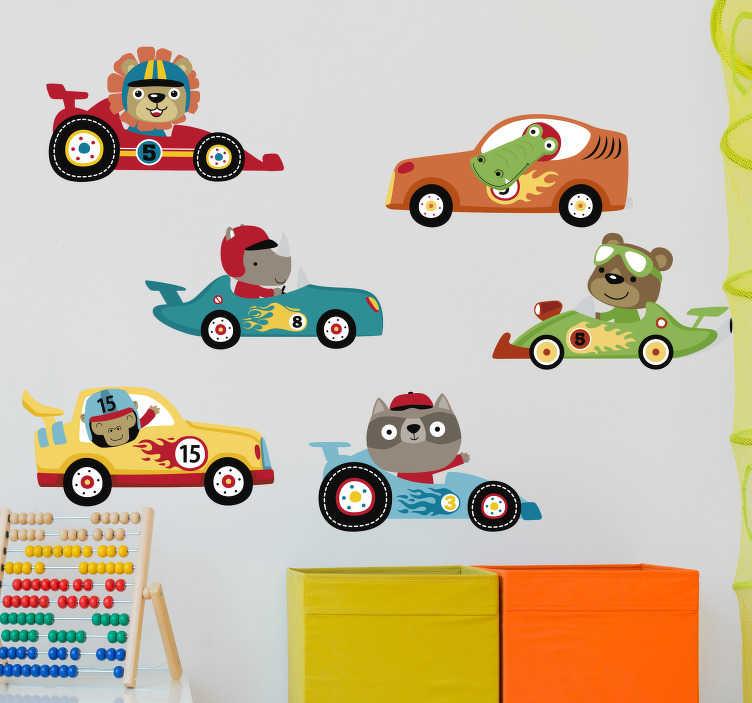 TenStickers. Adesivo auto macchinine da corsa. Immagina quanto l'adesivo per bambini con macchinine da corsa e animaletti alla guida possa migliorare incredibilmente la cameretta dei tuoi figli!