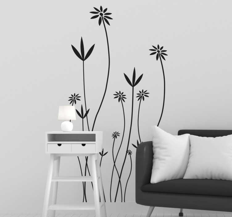 TenStickers. Naklejka na drzwi kwiaty. Naklejka przedstawiająca polne kwiaty pnące się na długich łodygach. Jeśli uważasz że Twoje drzwi są nudne nasza naklejka będzie odpowiednia dla Ciebie.