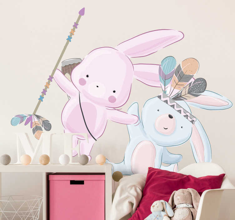 TenStickers. Bunnies animal wall decor. Animal wall sticker for kids bedroom created with funky and beautiful colours for kids. This design is just everything to decorate the infant's room.