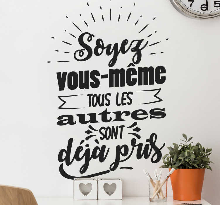 TenStickers. Sticker de Motivation citation unique. Notre dernier sticker de citation inspirationel sera parfait pour votre maison, école ou bureau! Des mots qu'il faut jamais oublié!