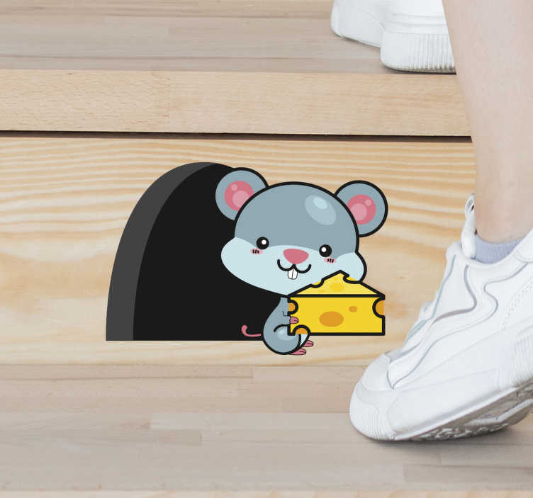 TENSTICKERS. 階段マウス動物の壁の装飾. 子供用スペースの表面に適用できる子供用動物デカール。このデザインは、素敵な背景の猫で作成されています。簡単に適用できます。