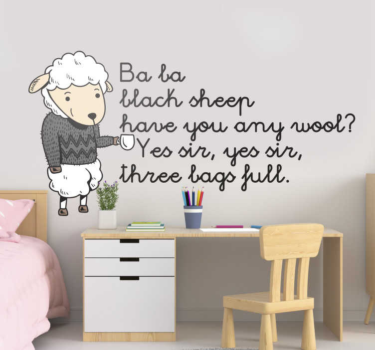 TenStickers. Ba ba black sheep nursery rhyme animal wall sticker. Kids room wall decal of nursery rhyme that you will love to apply on the surface to decorate it while you with the special rhyme. Easy to apply.