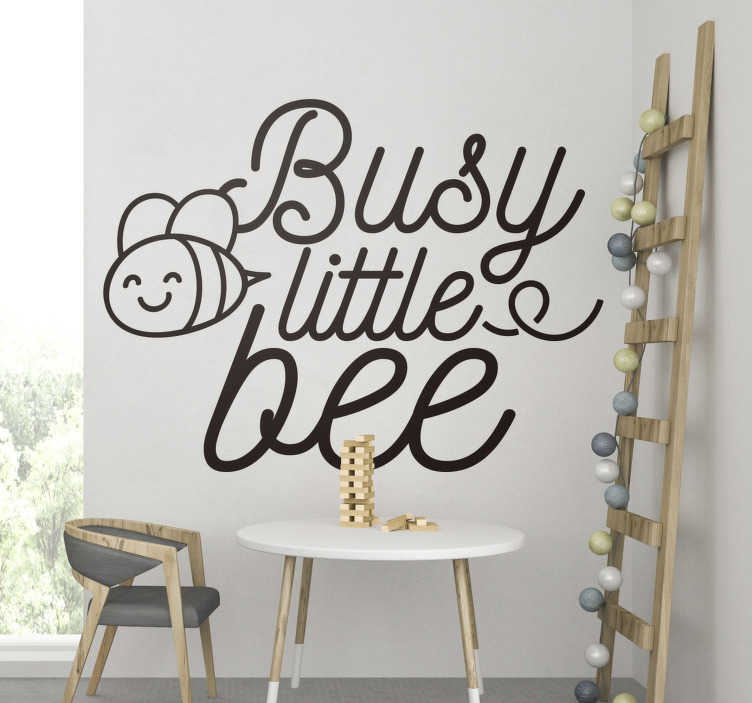 TenStickers. Busy little bee insect wall sticker. A decorative insect wall sticker for infant's bedroom that you can buy in the size and colour of your preference. Easy to apply  design.