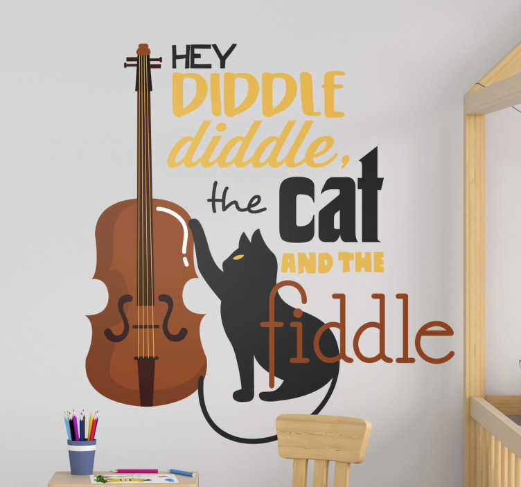 TenStickers. Hey diddle diddle nursery rhyme song lyric wall decal. Children bedroom wall sticker of the nursery rhyme diddle diddle, that is created in very lovey text style with a cat and a guitar. Easy to apply.