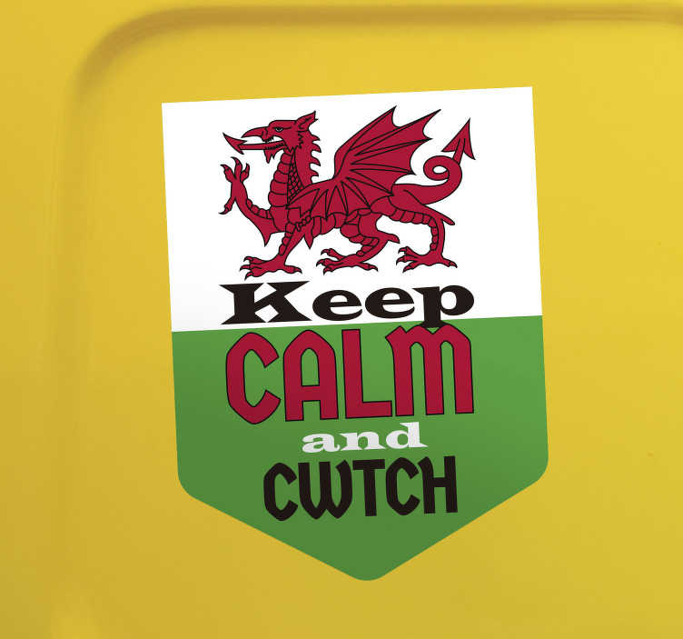 TenStickers. Keep calm and cwtch car decal. An original car decal with text that is created to decorate your car and speak of your personality. This design is easy to apply.