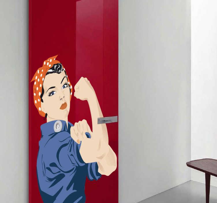 TenStickers. Autocollant mural affiche retro. Stickers faisant référence à la célèbre affiche de la Seconde Guerre Mondiale représentant une femme travailleuse et féministe.Idée déco pour la chambre à coucher ou le salon.