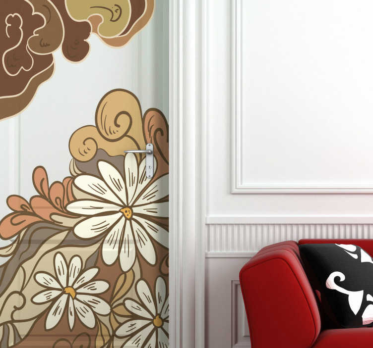 TenStickers. Sticker decorativo illustrazione fiori. Una delicata fantasia floreale per abbellire il tuo ambiente. Decora la porta della camera da letto con questo simpatico adesivo.