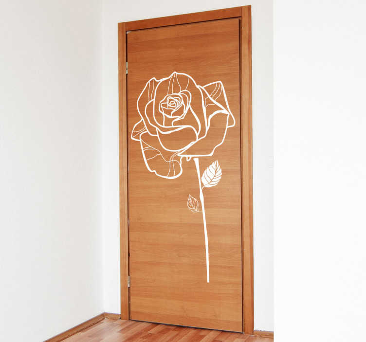 TenStickers. Wandtattoo Umrisse Rose. Dieser Aufkleber zeigt den Umriss einer Rose mit Adern in den Blütenbläüttern, mit Stil und Blättern.