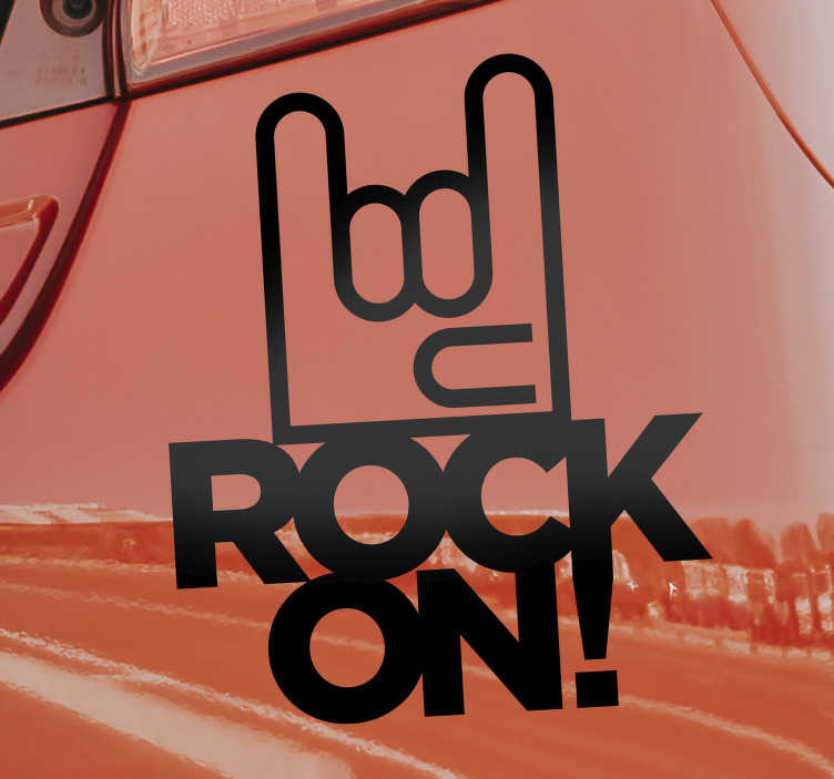 TenStickers. Rock on car symbol  Decal. Rock music symbol car decal to decorate the surface of your car. This design can be in any colour and size of your choice. Easy to apply design.