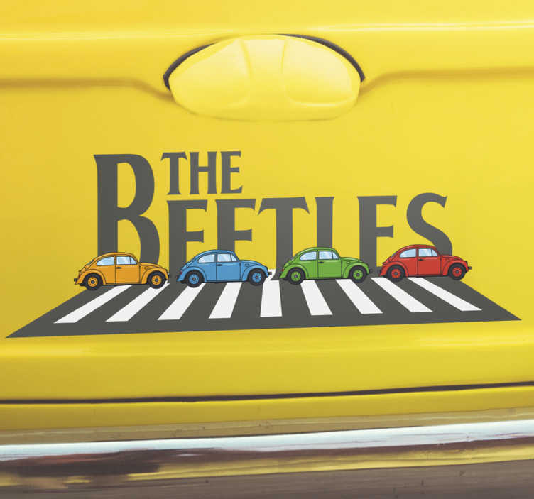 TenStickers. The beetles cars  Decal. Car decal designed with beetle cars and the text that says ''beetle. This design is very colourful and you will love to ride everywhere with it.
