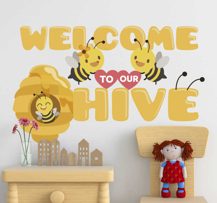 TenStickers. Welcome to our hive insect wall sticker. Excite and create a beautiful bedroom for your infant with this insect theme sticker designed in very nice and bright colour to lighten up the space.