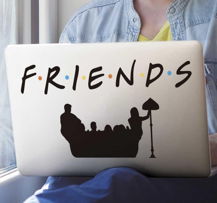 TenVinilo. Vinilo televisión Friends para Macbook. Original pegatina para portátil o mac de la serie FRIENDS con el título y los personajes con el que podrás personalizar tu ordenador. Fácil de aplicar