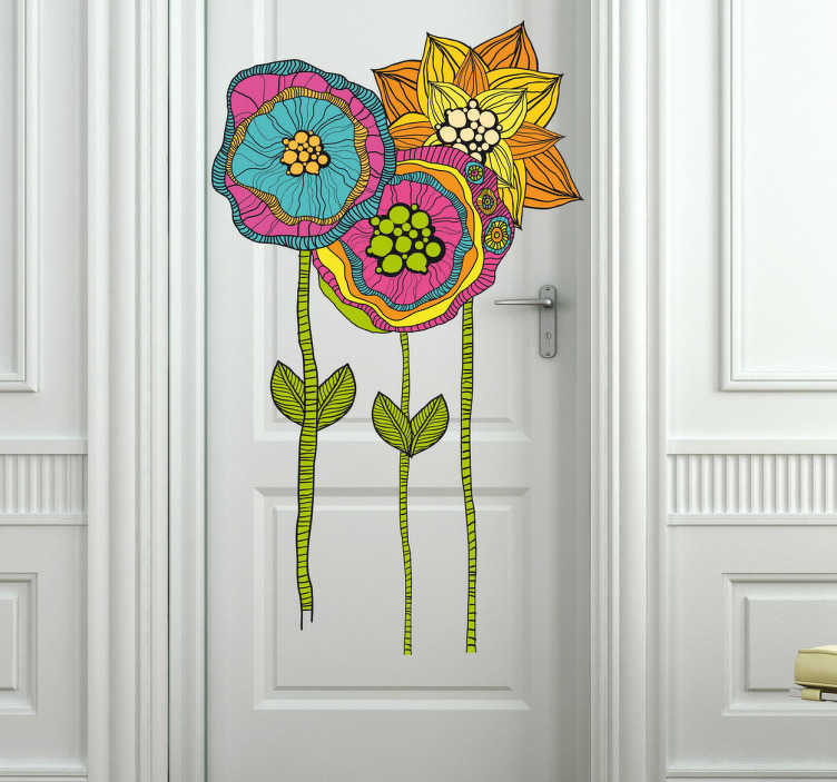TenStickers. Naklejka kolorowe kwiaty. Naklejka dekoracyjna z trzema, kolorowymi kwiatami. W szybki i prosty sposób ozdobisz drzwi w dowolnym pomieszczeniu.