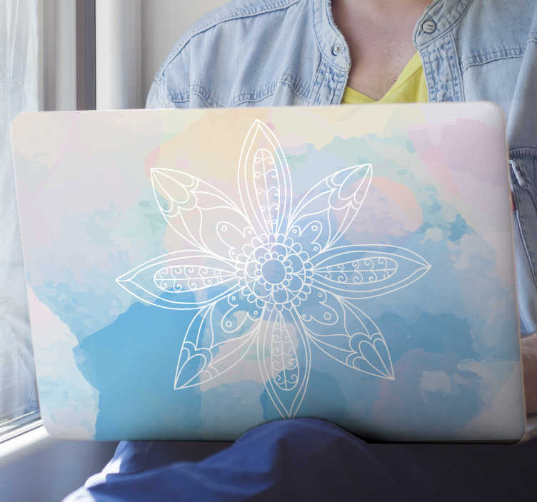 TenStickers. Colorful mandala laptop skin. A colourful mandala flower decal for laptop design that is easy to apply and maintain. This design contains mandala in blues background