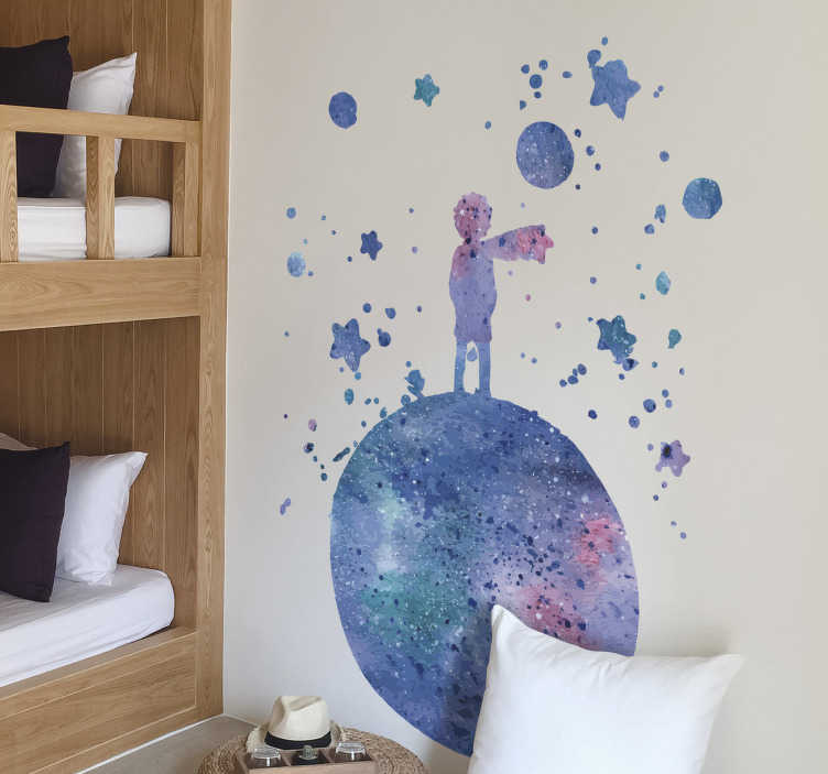 TenStickers. Le monde du petit prince sticker mural conte de fées. Un petit autocollant prince de couleur bleue conçu spécialement pour les enfants. Cette conception est très facile à appliquer et vous pouvez choisir la taille.