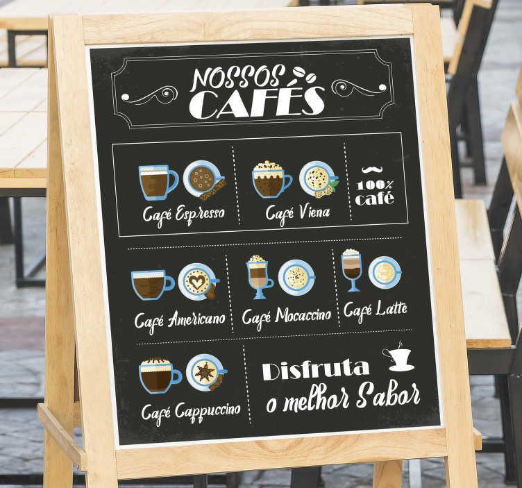 TenStickers. Autocolantes decorativos de bebidas Os Nossos Cafés. Promove as bebidas quentes/cafés que tens ao dispôr no teu estabelecimento com este fantástico vinil autocolante decorativo de bebidas!