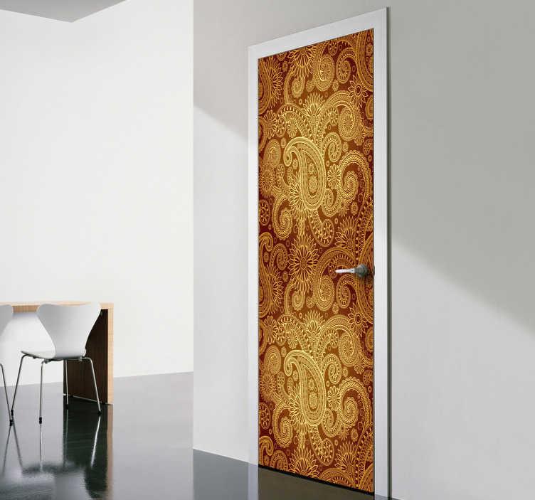 TENSTICKERS. インドの花のデカール. 花のドアのステッカーと壁のステッカー。あなたの家やビジネスに特有のエキゾチックな機能。有名なペイズリーパターンも含まれています。