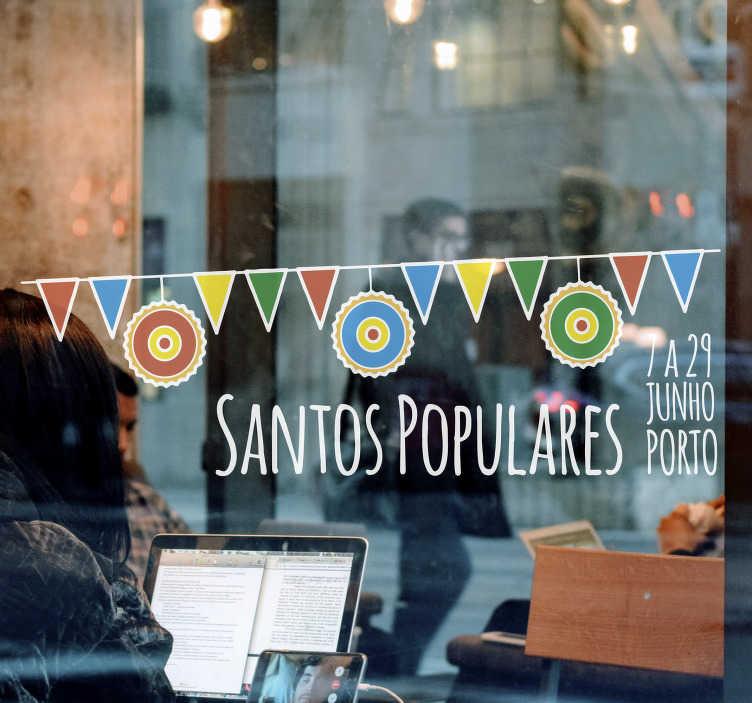 TenStickers. Autocolantes de festividades Santos Populares Personalizável. Prepare o seu estabelecimento para os Santos Populares, uma das maiores festas do povo português, com este vinil decorativo de festividades!