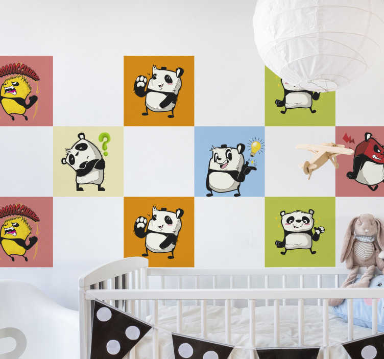 TenStickers. Playing pandas border sticker. Playing pandas wall border children wall sticker design of pandas on different colour background. This design is self adhesive and easy to apply.