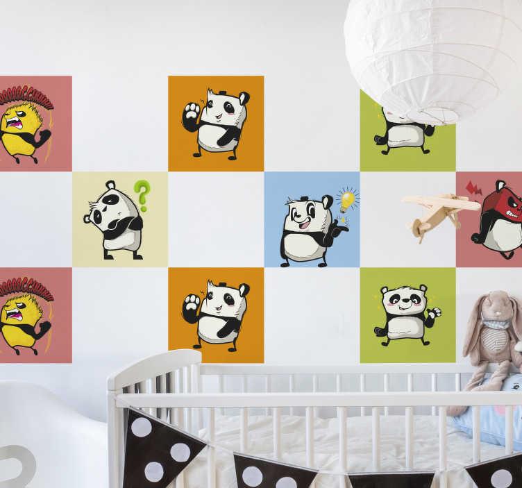 TenStickers. Stickers tegels Spelende panda's. Spelende panda's tegelsticker ontwerp voor uw kinderen en baby's. Dit ontwerp bevat verschillende panda's in verschillende stijlen.