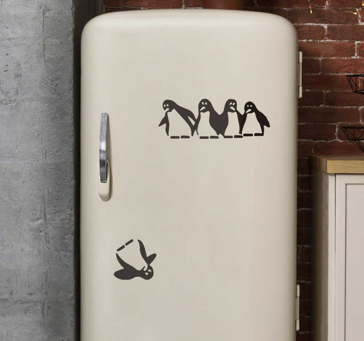 TenStickers. Cayo penguin fridge wrap. Cayo penguin fridge wrap decal design for your fridge. This design is created with the penguin bird and you can apply it separately however you want.