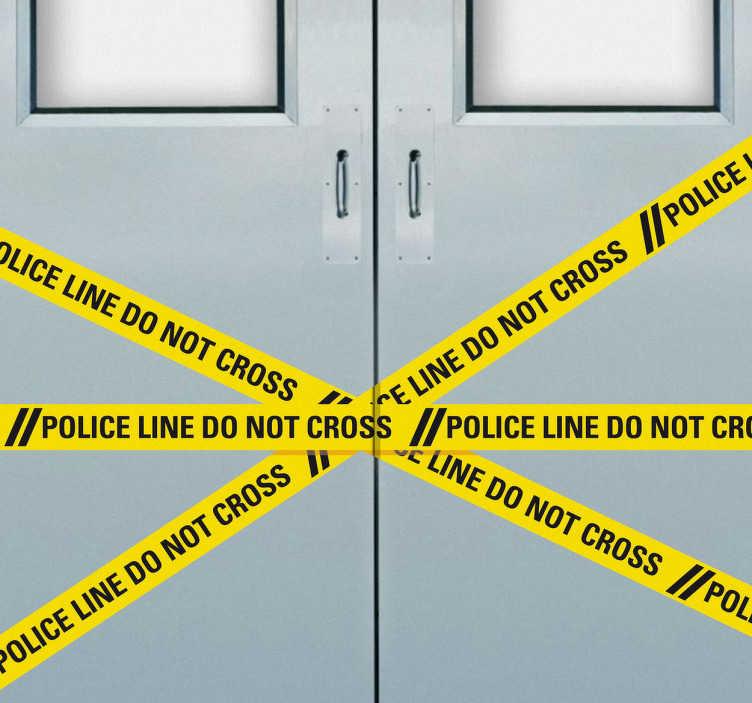 TenStickers. Sticker bandes jaunes police. Plus personne n'osera franchir la porte de votre chambre ou votre bureau avec cet original sticker façon scène de crime