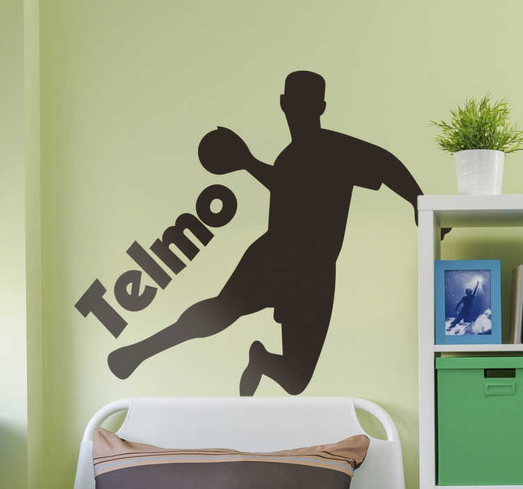 TenStickers. Handball player silhouette  wall decor. A male handball player silhouette  sticker  designed with the best quality material. handball silhouette for inspiration for players of this sport.