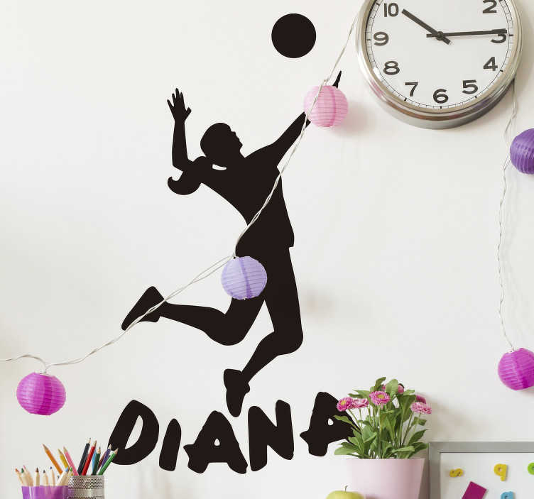 TenStickers. Volleyball player silhouette wall decor. Volleyball player silhouette  sticker of female, designed to match the background of your desires space. Available in different sizes