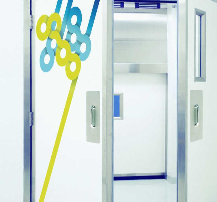TenStickers. Sticker ligne et cercle. Stickers décoratif pour les portes illustrant un assemblage de lignes et de cercles jaunes et bleues.Idée déco pour la chambre à coucher ou le salonde façon moderne.
