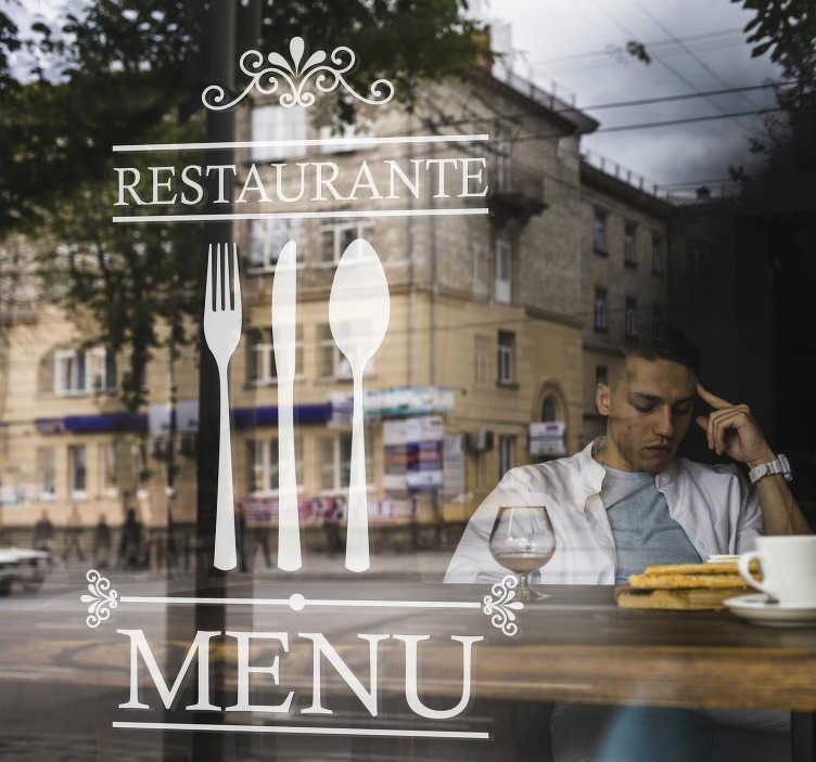 """TenStickers. Autocolantes de restaurantes Talheres Decorativos. Decore as janelas do seu estabelecimento com este autocolante para vidros com as palavras """"Restaurante"""" e """"Menu"""" com talheres entre eles!"""