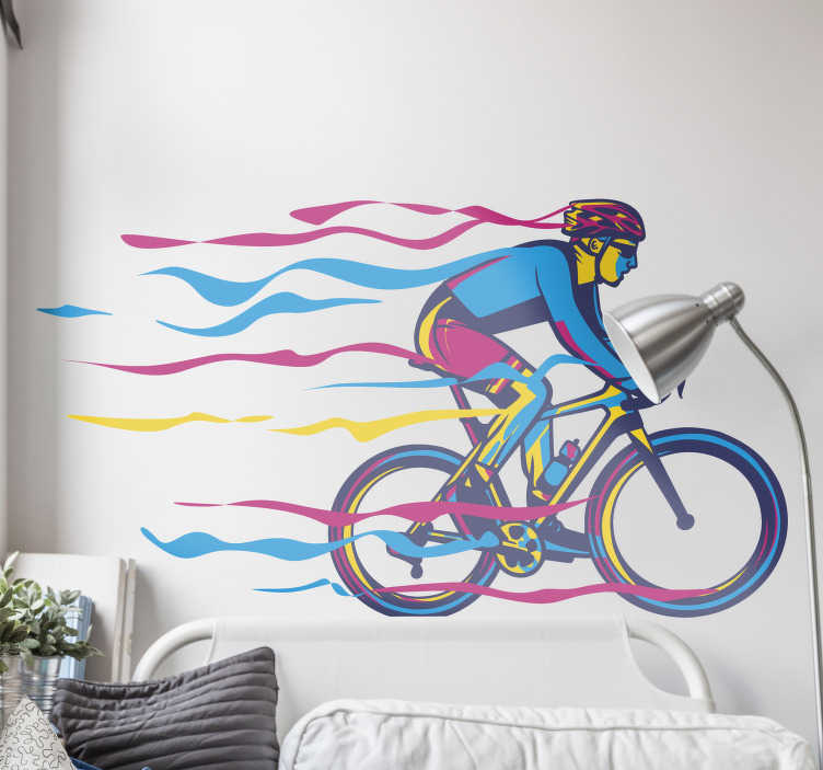 TenStickers. Coloured bike cycling wall sticker. Multiple coloured bicycle cycling wall decor in different size . This product is made of the best vinyl in the market and easy to put on the wall.