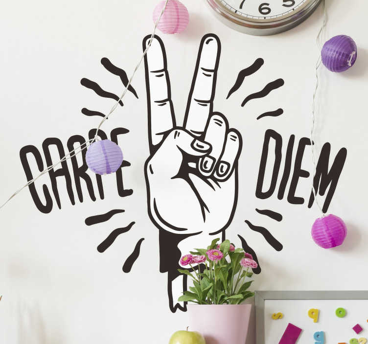 TenStickers. Carpe Diem motivational sticker.  A Carpe Diem symbol of fingers motivation wall decal in a black  and white colour. This is a design of a two fingers in the air and will fit anywhere.