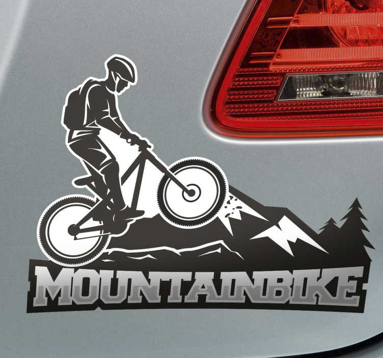 TenStickers. Mountain bike wall decor. Mountain biking in black and white wall sticker. This is a special design of a biker riding up the mountain with strength and focus