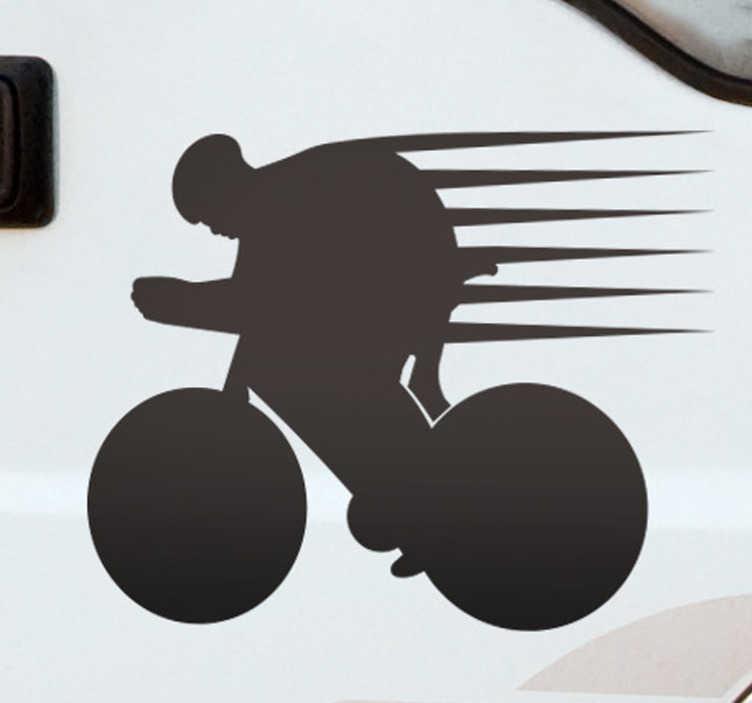 TenVinilo. Pegatina bicicleta corredor. Compra este vinilo para coche de ciclismo con el que podrás personalizar tu vehículo por un módico precio. Fácil de colocar.