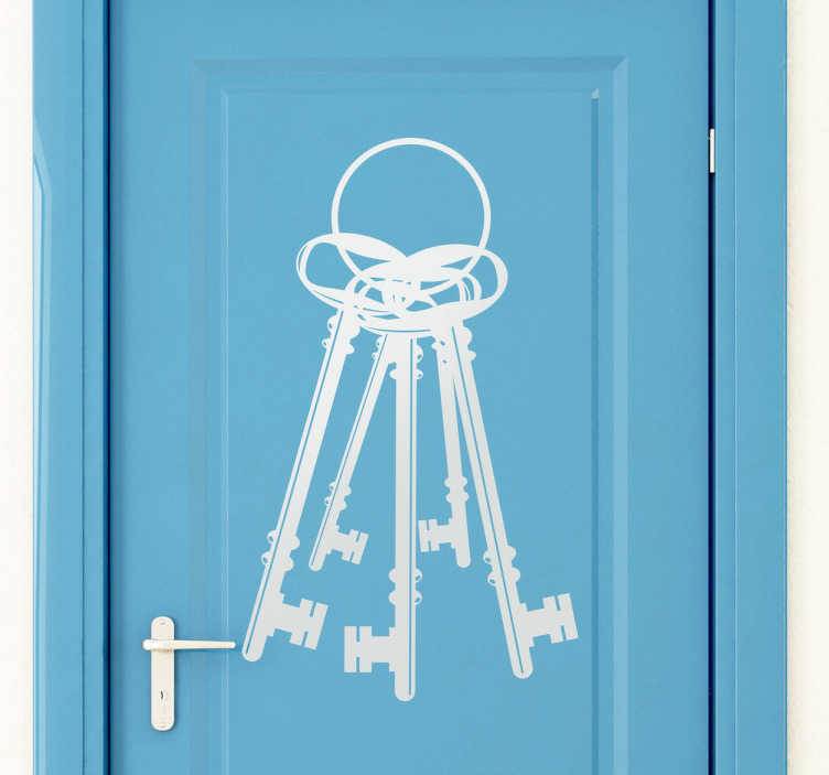 TENSTICKERS. 鍵の束のドアのステッカー. ヴィンテージキーの束の創造的なデカール。自宅のドアを飾り、独特のスタイルを手に入れるのに最適です。