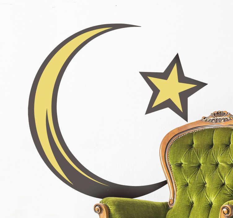 TenStickers. Islamisches symbol wandtattoo. Ein islamischer wandaufkleber aus sternen und mond, der an der wand und an jedem ort ihrer wünsche angebracht werden kann. Dieser entwurf kann in jeder größe ihrer wahl sein.