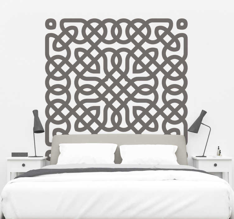 TenStickers. Celtic pattern headboard wall sticker. A decorative Celtic pattern headboard wall sticker for your bedside to create a beautiful bedroom appearance and enhance a beautiful sleep.