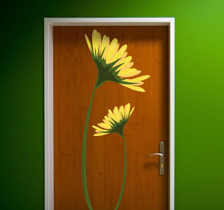 TENSTICKERS. イエローデイジーデカール. デイジーウォールステッカーのコレクションから2つの夏のデイジーのイラスト。この美しいデイジーデカールであなたの家の壁やドアを飾る。