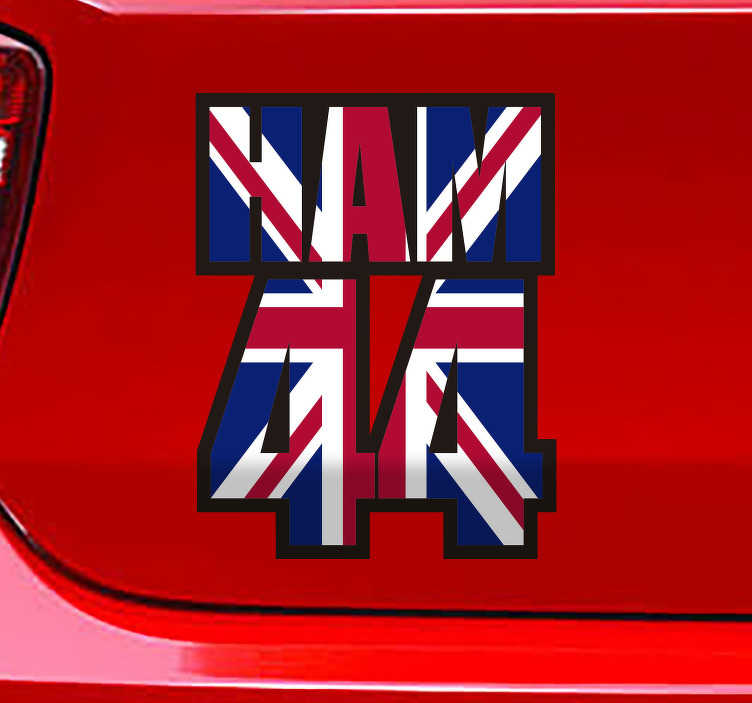 TenStickers. Lewis Hamilton 44 outline car decal. Lewis Hamilton 44 outline vehicle decal design of the number of the car racing  genius and his name on a British flag. This product is easy to apply.