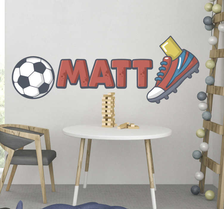 TenStickers. Personalised ball and shoes football wall sticker. Personalise your name on this personalised ball and shoes football wall sticker design of a ball, shoes and personalize name that is easy to apply.