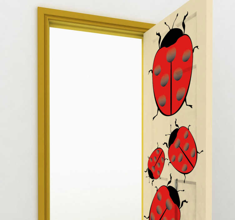 TenStickers. Ladybugs Stickers. Decals - Add a touch of colour too your walls or doors with this set of ladybugs. Ideal for all ages.