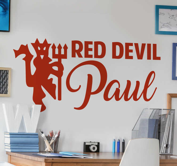TenStickers. Personalised Man united football sticker. Personalised man united football wall sticker design created with the club symbol that can be personalised with your name and in any size of you want.