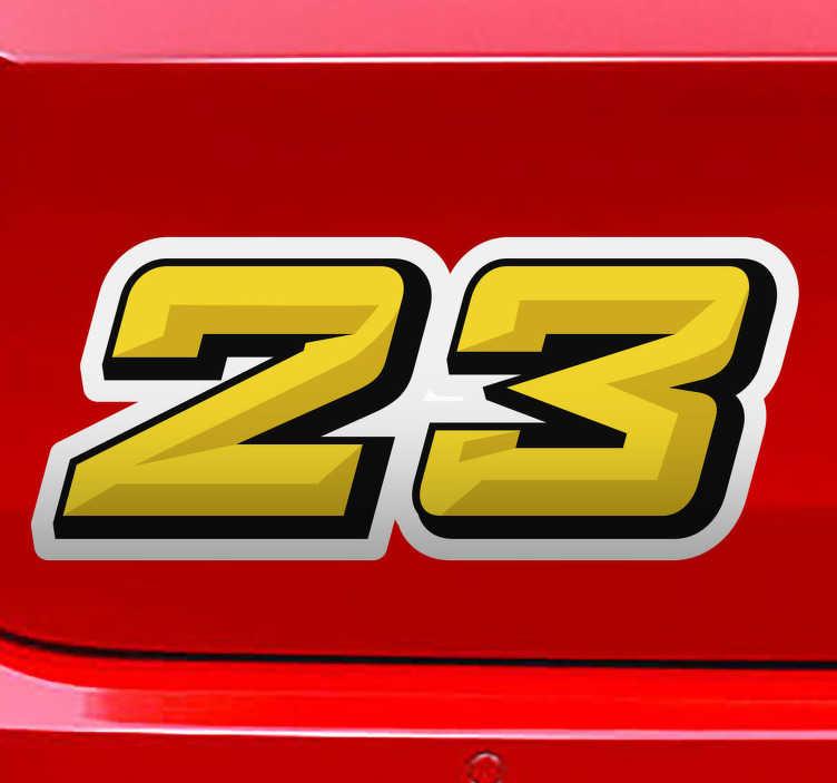 TenStickers. Auto sticker gepersonaliseerde nummers. Hier is  een prachtige gepersonaliseerde auto sticker te zien die u kunt bevestigen op uw auto. Deze is gemaakt van sterke kwaliteit.