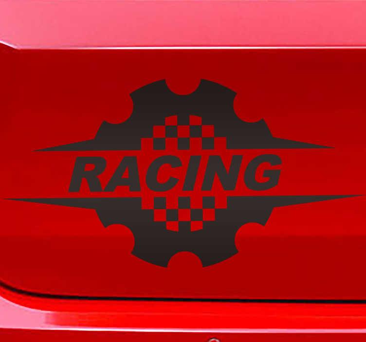 TenStickers. Autocolante decorativo para carros Corrida. vinis decorativos roda de carro de corrida projetado em um fundo laranja com texto. Este produto vem em tamanhos diferentes e possui acabamento mate de alta qualidade.