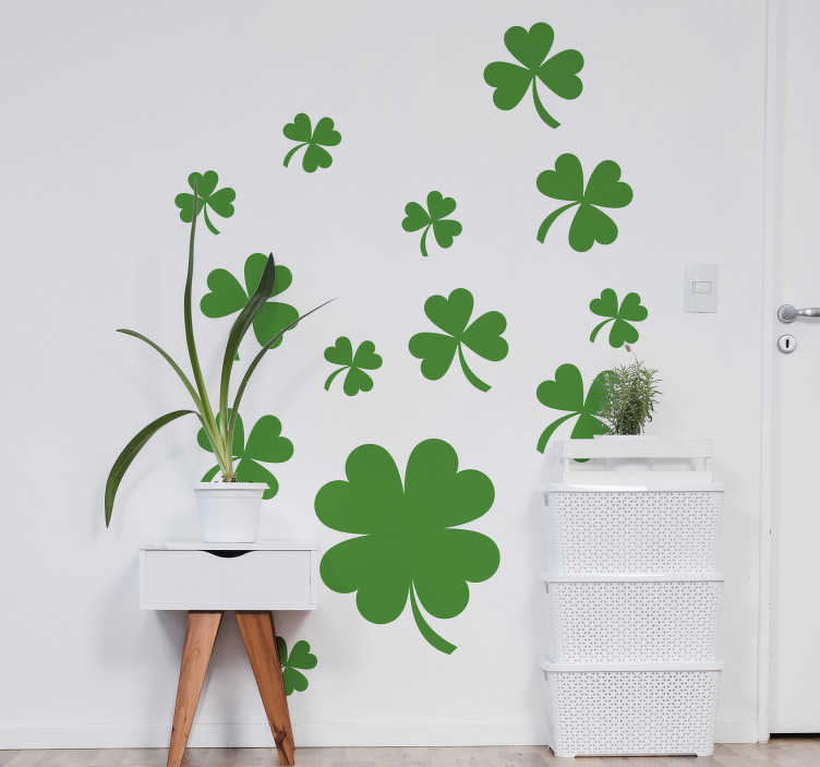 TenStickers. Shamrock plants plant wall decor. Show the specimen of plant you love by using this shamrock plants plant wall sticker that is in flourishing green and will look nice anywhere.