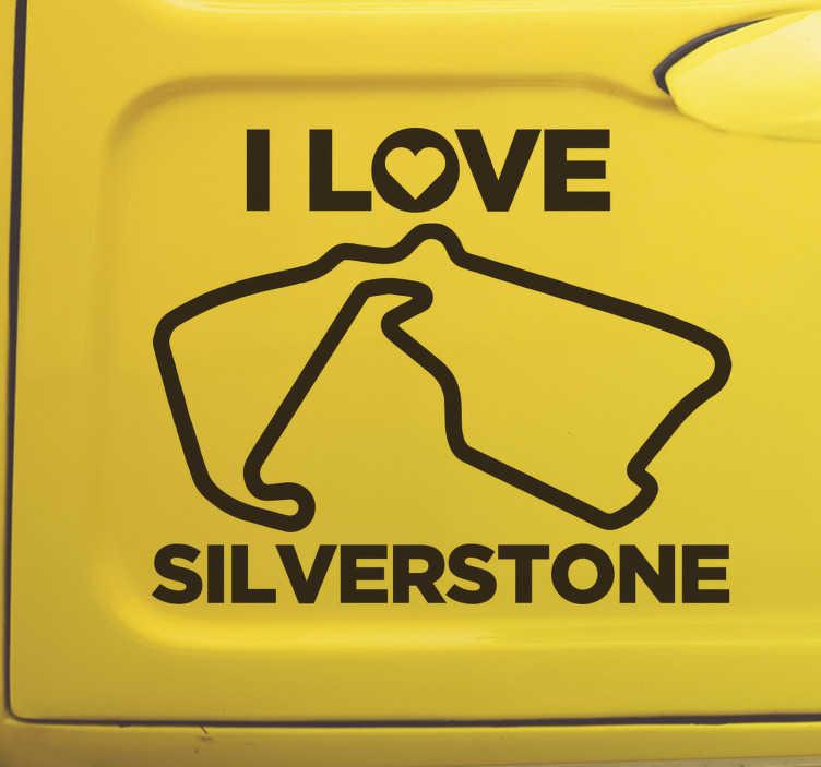 TenStickers. Nalepka na dirkališču silverstone. Srebrna nalepka za stene na dirkališču silverstone za karoserijo vašega avtomobila ali katero koli površino za prikaz strasti. Izdelek je končan v visoko kakovostnem mat.