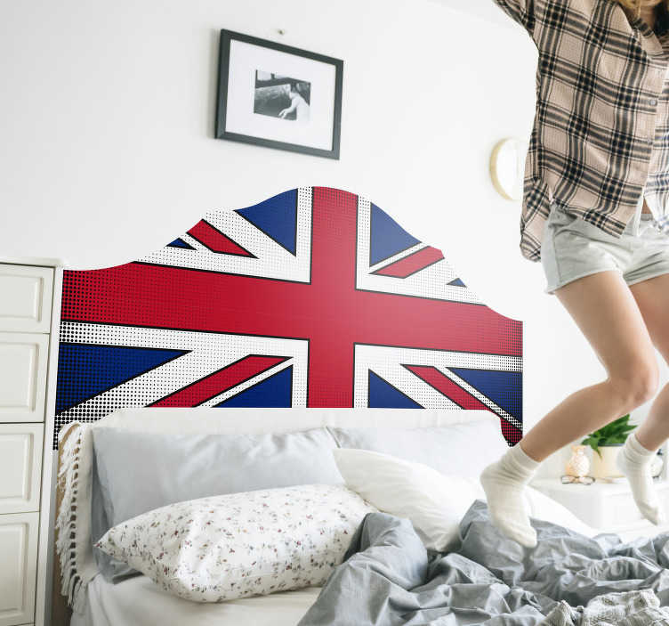 TenStickers. Union jack headboard wall sticker. Union jack headboard sticker design of the united kingdom flag that will suit to wrap surfaces or applied on the wall. This is of high quality matte.