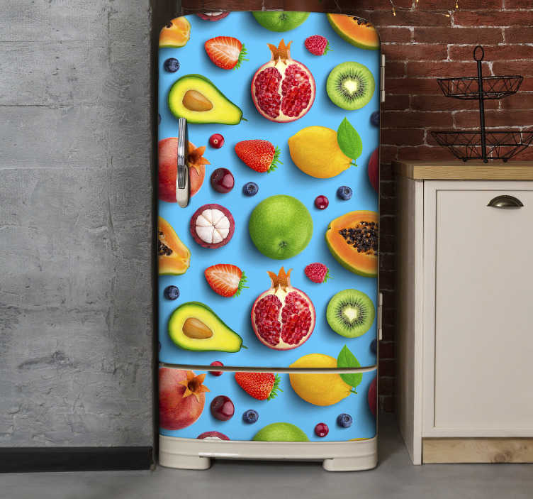 TenStickers. Fruits for kitchen fridge wrap. This is an amazing kitten colourful fruits for fridge with blue background decal that will leave you with every excitement.